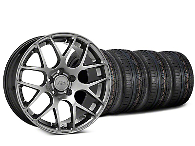 Staggered AMR Dark Stainless Wheel & NITTO INVO Tire Kit - 19x8.5/11 (05-14 All)