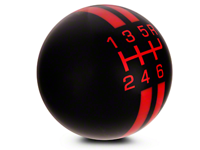Rally Stripe 6-Speed Shift Knob - Black/Red (03-04 Cobra)