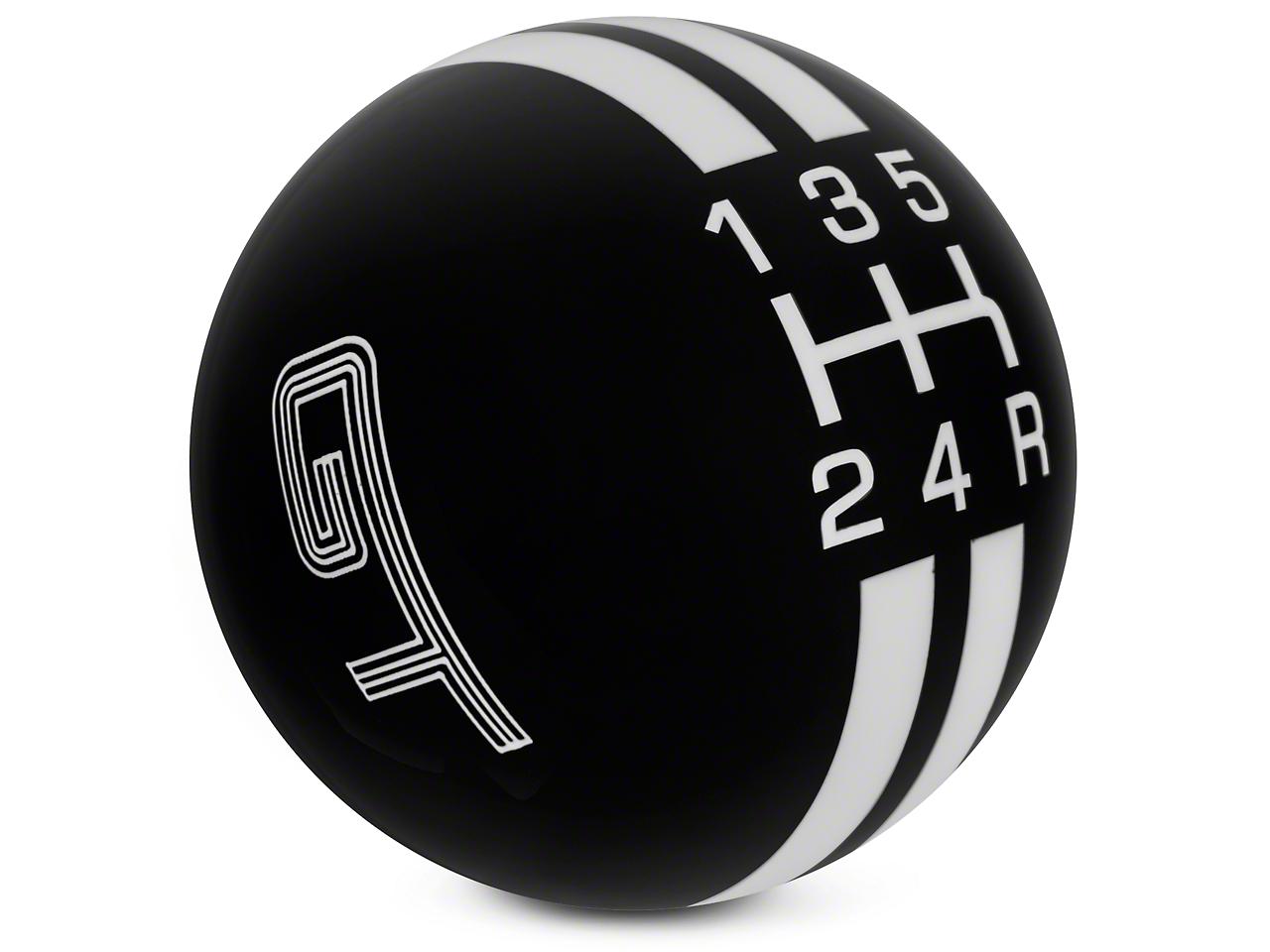 Rally Stripe 5-Speed Shift Knob w/ GT Logo - Black/White (05-10 GT, V6)