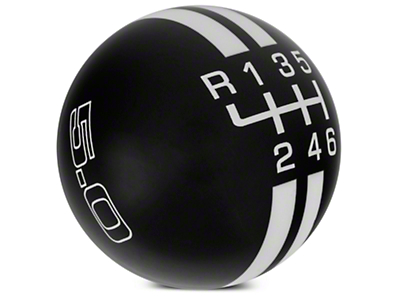 Rally Stripe 6-Speed Shift Knob w/ 5.0 Logo - Black/White (11-14 GT, V6)