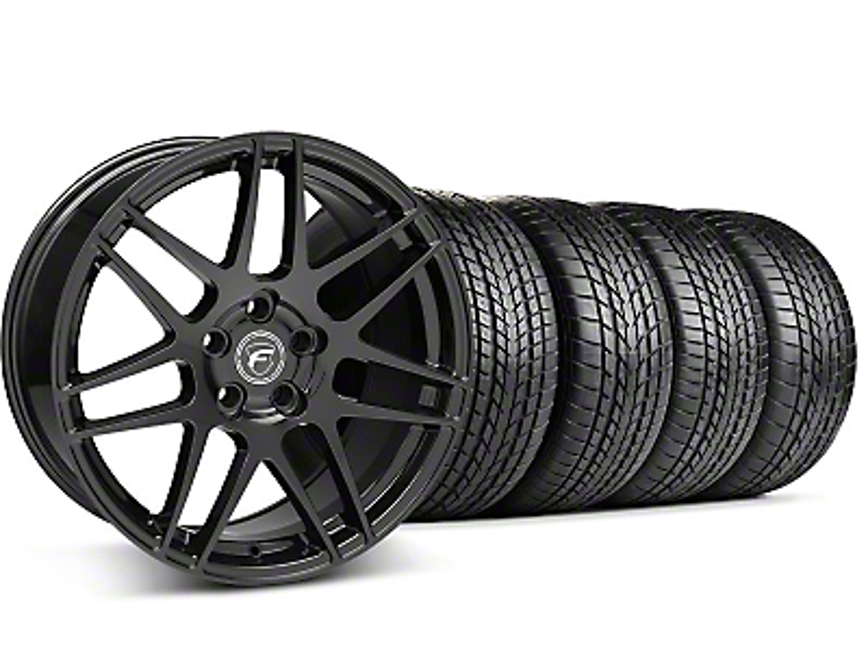 Staggered Forgestar F14 Piano Black Wheel & Sumitomo Tire Kit - 17x9/10.5 (99-04)