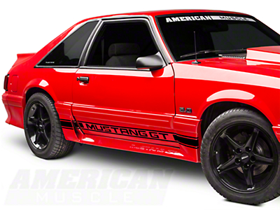 Black Rocker Stripes w/ Mustang GT Lettering (79-93 All)