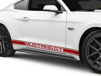 Red Rocker Stripes w/ Mustang GT Lettering (15-17 All)