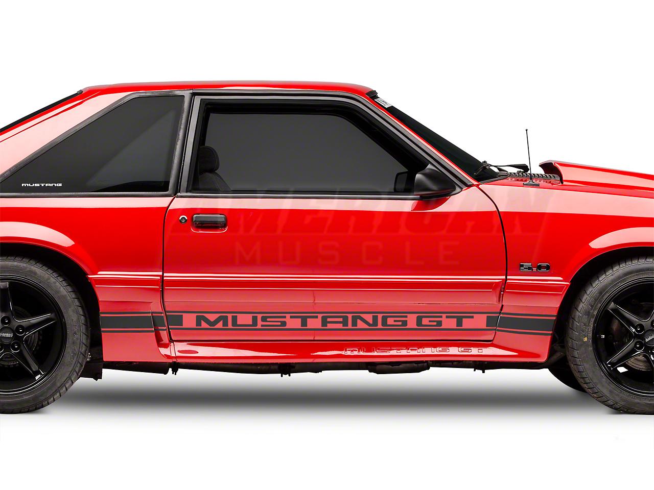 Matte Black Rocker Stripes w/ Mustang GT Lettering (79-93 All)