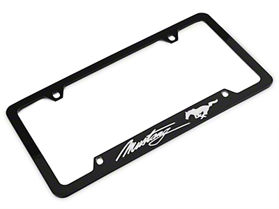 Ford License Plate Frame - Silver Pony w/ Silver Mustang Script (79-17 All)