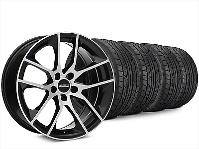 Staggered Magnetic Style Black Machined Wheel & NITTO NT555 G2 Tire Kit - 20x8.5/10 (15-17 All)