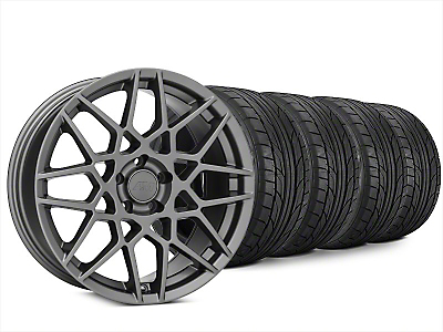 Staggered 2013 GT500 Style Charcoal Wheel & NITTO NT555 G2 Tire Kit - 20x8.5/10 (15-17 V6, EcoBoost)