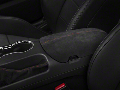 Console Lid cover in Black Alcantara w/ Red Stitch (15-17 All)