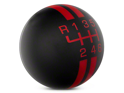 Rally Stripe 6-Speed Shift Knob - Black/Red (15-17 GT, EcoBoost, V6)