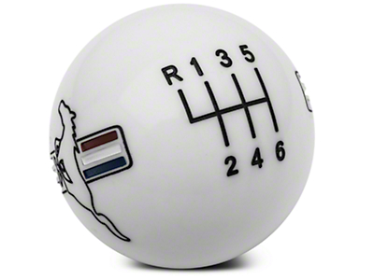 Modern Billet Retro Style 6-Speed Shift Knob w/ Tri-Bar Pony Logo - White (15-17 GT, EcoBoost, V6)
