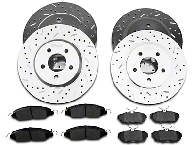 Xtreme Stop Precision Cross Drilled & Slotted Rotor w/ Ceramic Brake Pad Kit - Front & Rear (11-14 V6)