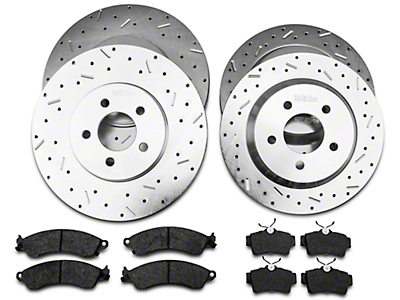 Xtreme Stop Precision Cross Drilled & Slotted Rotor w/ Ceramic Brake Pad Kit - Front & Rear (94-04 Cobra, Bullitt, Mach 1)