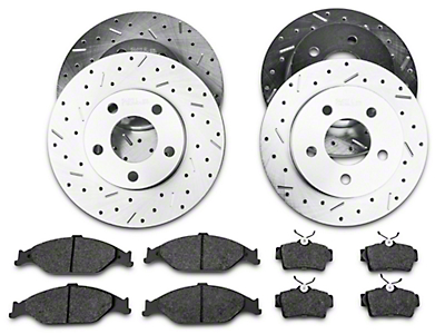 Xtreme Stop Precision Cross-Drilled & Slotted Rotor w/ Carbon Graphite Brake Pad Kit - Front & Rear (99-04 GT, V6)