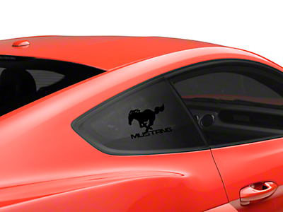 Running Pony Quarter Window Decal w/ Mustang Lettering - Black (05-17 All)