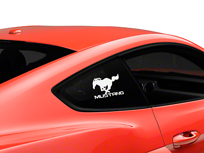 Running Pony Quarter Window Decal w/ Mustang Lettering - White (05-17 All)