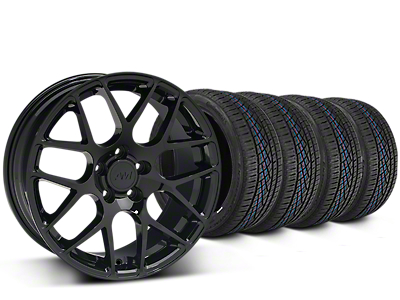 Staggered AMR Black Wheel & Continental Extreme Contact DWS06 Tire Kit - 19x8.5/11 (05-14 All)
