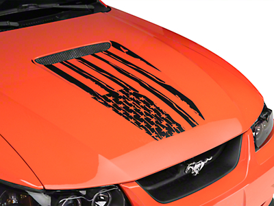 Distressed Flag Hood Decal - Matte Black (99-04 All)
