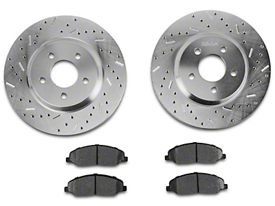 Xtreme Stop Precision Cross-Drilled & Slotted Rotor w/ Carbon Graphite Brake Pad Kit - Front (05-10 GT)