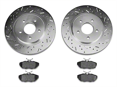 Xtreme Stop Precision Cross-Drilled & Slotted Rotors w/ Carbon Graphite Brake Pad Kit - Rear (11-14 All, Excluding 13-14 GT500)