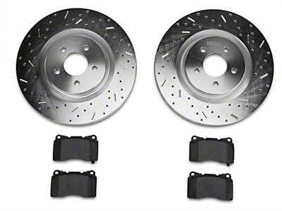 Xtreme Stop Precision Drilled & Slotted Rotor w/ Ceramic Brake Pad Kit - Front (11-14 GT Brembo; 12-13 Boss; 07-12 GT500)