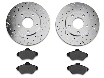 Xtreme Stop Precision Cross-Drilled & Slotted Rotor w/ Ceramic Brake Pad Kit - Front (94-98 GT, V6)
