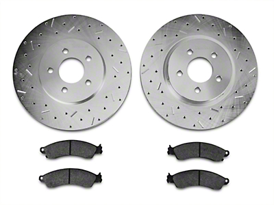 Xtreme Stop Precision Drilled & Slotted Rotor w/ Ceramic Brake Pad Kit - Front (94-04 Bullitt, Mach 1, Cobra)