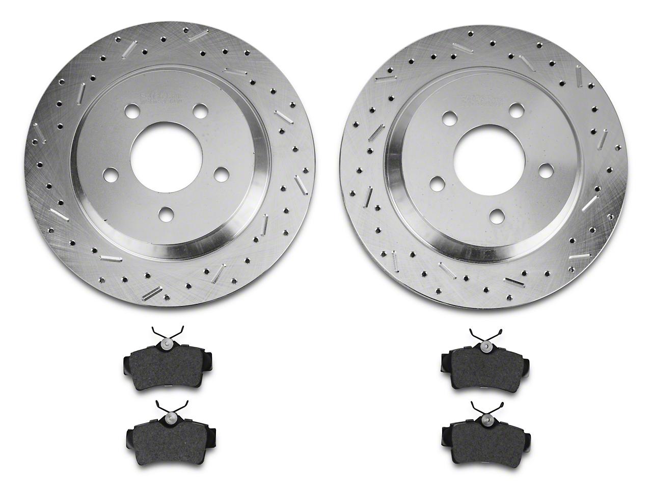 Xtreme Stop Precision Cross-Drilled & Slotted Rotors w/ Ceramic Brake Pad Kit - Rear (94-04 Bullitt, Mach 1, Cobra)