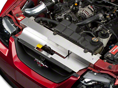 Modern Billet Brushed Stainless Steel Radiator Cover (99-04 GT, V6, Mach 1; 99-01 Cobra)