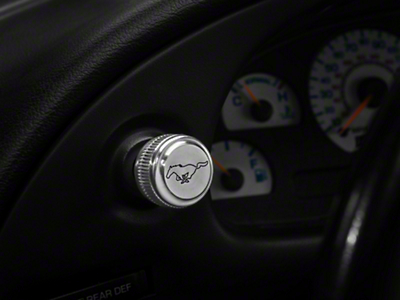 Modern Billet Polished Headlight Knob - Running Pony Logo (94-04 All)
