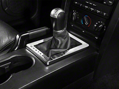 Modern Billet Chrome Shifter Bezel - Manual - Mustang Lettering (05-09 All)