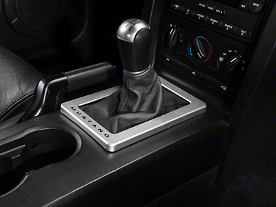 Modern Billet Satin Shifter Bezel - Manual - Mustang Lettering (05-09 All)
