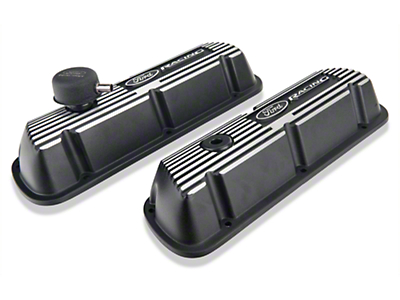 Ford Performance Black Valve Covers w/ Logo (79-85 5.0L)