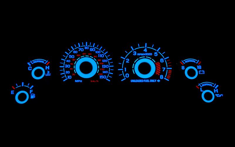 White Face Reverse Glow Gauge Insert (96-98 GT)