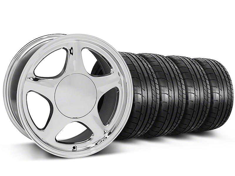 Pony Chrome Wheel & Mickey Thompson Tire Kit - 17x8 (87-93; Excludes 93 Cobra)