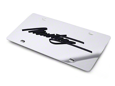SpeedForm Front License Plate - Black Mustang Script (79-17 All)