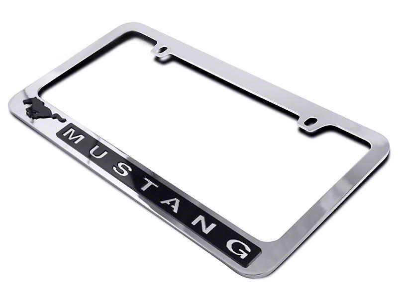 SpeedForm License Plate Frame - Black Pony w/ Mustang Lettering (79-17 All)