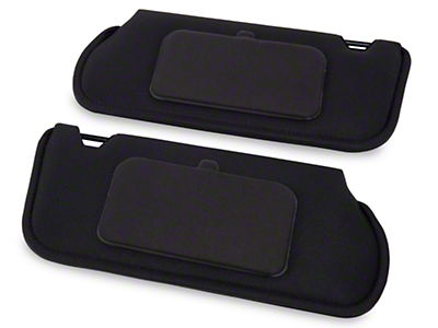 TMI Cloth Sun Visors w/ Mirrors- Coupe/Hatchback - Black (85-93 All)