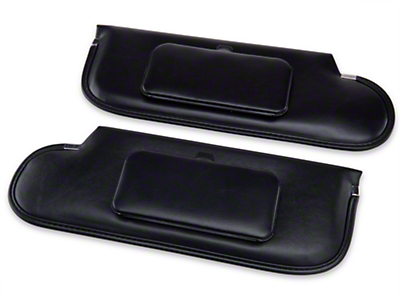 TMI Vinyl Sun Visors w/ Mirrors - Convertible - Black (87-93 All)