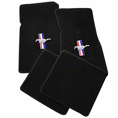 Lloyd Black Floor Mats - Tri-Bar Pony Logo (79-93 All)