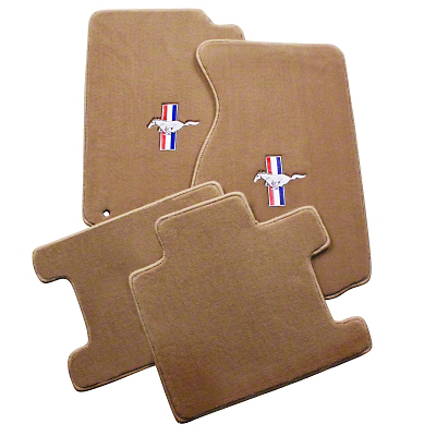 Lloyd Front & Rear Floor Mats w/ Tri-Bar Pony Logo - Parchment (94-98 Convertible)