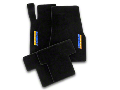 Front & Rear Floor Mats w/ AmericanMuscle Logo - Black (05-10 All)