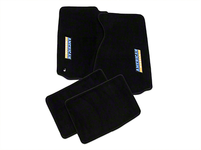 TruShield Black Floor Mats - AmericanMuscle Logo (94-04 All)