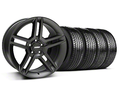 Staggered 2010 GT500 Style Matte Black Wheel & Pirelli Tire Kit - 19x8.5/10 (05-14 All)