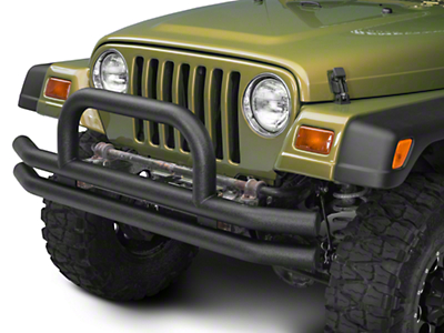 Barricade Double Tubular Front Bumper w/ Classic Hoop Over-Rider - Textured Black (87-06 Wrangler YJ & TJ)