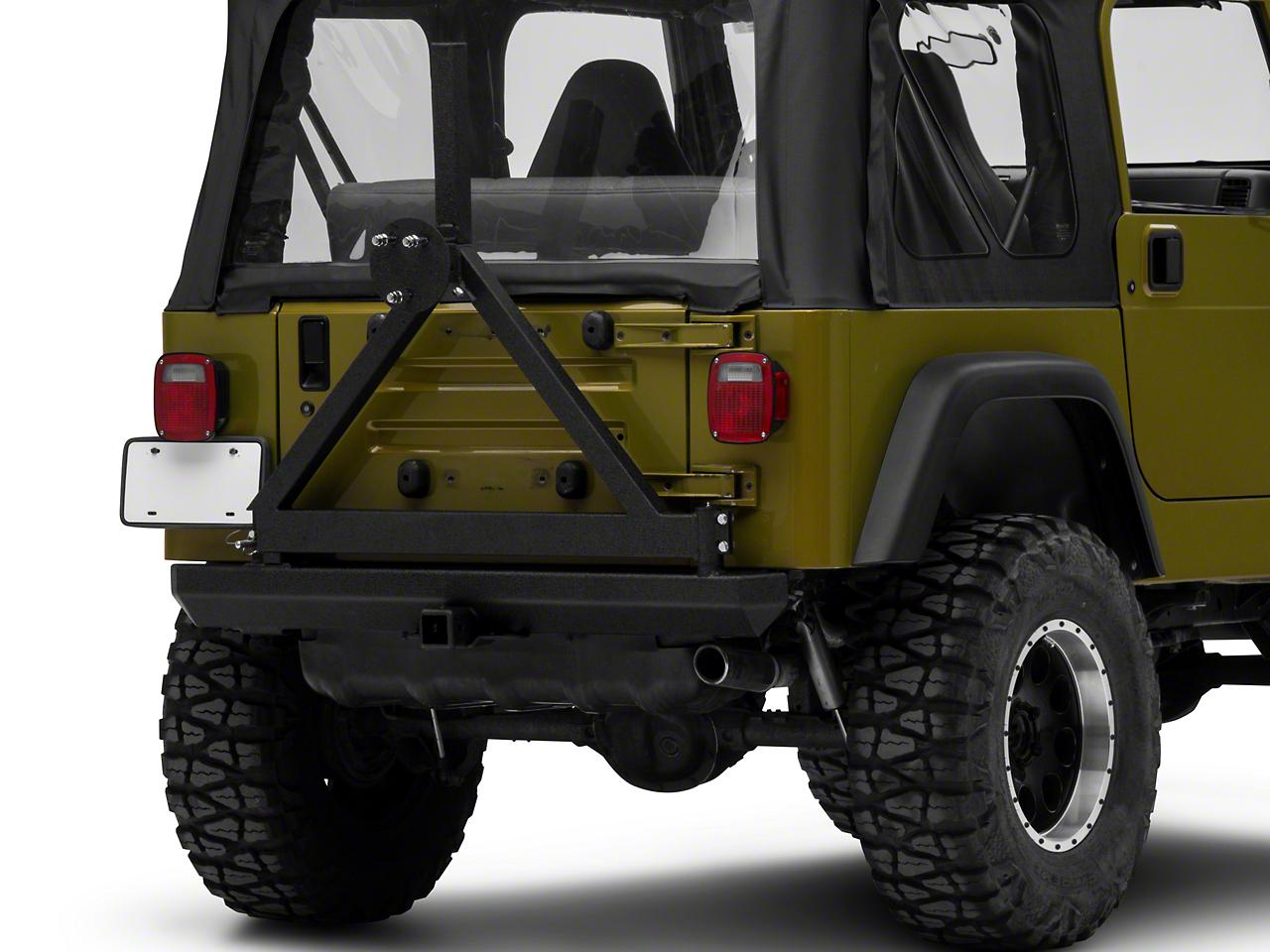 RedRock 4x4 Rock Crawler Rear Bumper w/ Tire Carrier - Textured Black (87-06 Wrangler YJ & TJ)
