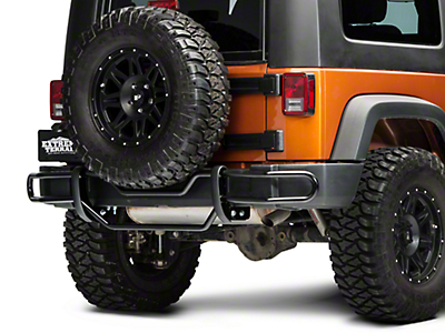RedRock 4x4 Rear Double Tube Bumper Guard - Gloss Black (07-17 Wrangler JK)