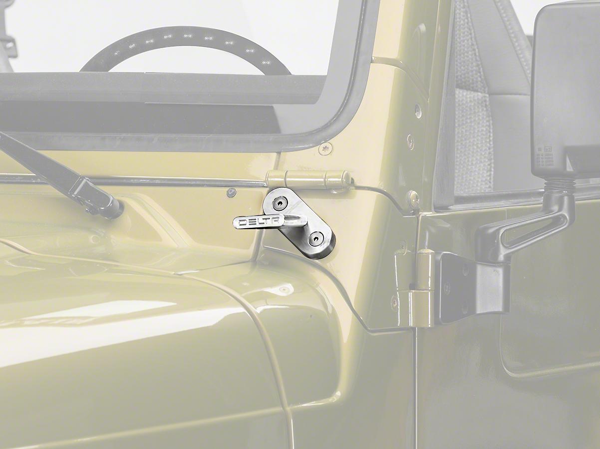 Delta Windshield Billet T-Bracket Set for SearchLights (97-06 Wrangler TJ)
