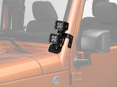 Rugged Ridge 3 in. Square LED Lights w/ Textured Black Dual A-Pillar Light Mounting Brackets (07-17 Wrangler JK)