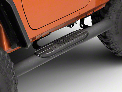 Westin Pro Traxx 4 Oval Step Bar - Black Wrinkle (07-17 Wrangler JK 2 Door)