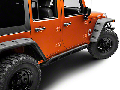 DV8 Off-Road Steel Rock Guard/Sliders - Black, 4-Door (07-17 Wrangler JK)
